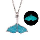 Модная светло-голубая рысь-русалка Кулон Ожерелье