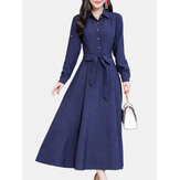 Elegant Women Turn-down Collar Long Sleeve Casual Shirt Dress