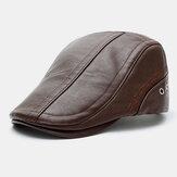 Erkekler Suni Deri Düz Renk Güneş Kremi Sıcak Tutun Rahat İleri Şapka Bere Şapka