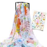 LYZA 200CM Damen Weiche lange Schal Schal Multifunktions-Digitaldruck Sonnencreme Strandtuch