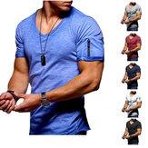 T-shirt med V-hals til mænd Fitness Bodybuilding T-shirt High Street Sommer Kortærmet lynlås Casual bomuldstop