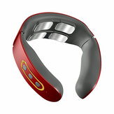 Eléctrico Inalámbrico Inteligente Cuello Masajeador TENS Pulse Relieve Cuello Dolor Recargable Vibrador de 4 cabezas Calefacción Masaje Cervical Salud Cuidado