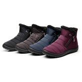 Women Waterproof Winter Warm Flats Fur Lined Wedge Ankle Boots Soft Snow Shoes Snow Boots