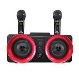 Bakeey SD-307 vezeték nélküli bluetooth hangszóró 30W két meghajtó sztereó TF kártya AUX-In 1800mAh világító otthoni karaoke hordozható családi hangsáv kettős vezeték nélküli mikrofonnal