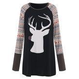 Noel Elk Baskılı Uzun Kollu O-Boyun Gündelik Kadın T-shirt