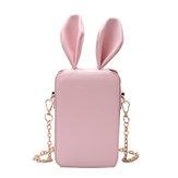 المرأةلطيفالكرتونالأرنبالأذنسلسلة هاتف حقيبة حقيبة مربع