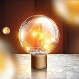 Qualitell 5V LED Warm White Fairy Star Globe Night Light Wood Retro USB  Desk Table Decoration Lights