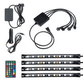 4PCS 9LED RGB Strip Lights Underglow Underbody Remote Control Decorative Floor Atmosphere Strip Interior Lamp