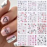 12 Pcs Nail Art Stickers Love Letter Flower Sliders Nail Art Decoration Valentine's Day Transfer Stickers
