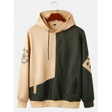 Mens Contrast Patchwork Letter Print Casual Loose Drawstring Hoodies With Pocket