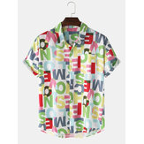 Conception Colorful Lettre Imprimer Button Up Pocket Pocket manches courtes Hommes Chemises