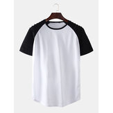 Mens 6 Colors Contrast Color Raglan Sleeves Sport T-Shirts