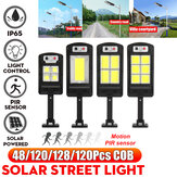 LED Solar COB Light PIR Motion Sensor Induction Wall Street Road Garden Lamp + Remote Control