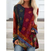 Women Vintage Ethnic Print Drop Shoulder O-Neck Long Sleeve Casual Blouse