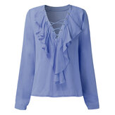 Sexy Vrouwen Ruffles V-Neck Lace Up Lange Mouwen Solid Color Blouse