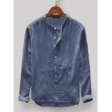 Mens Vintage Loose Confort Solid Color Botões Fly Manga comprida Casual Henley Shirts