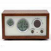 SY-601 Retro Design Rádio FM digital compacto em madeira com LED Temperatura do tempo Display Alarme Relógio