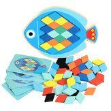 Wood DIY Assembly Jigsaw Puzzle Toy Colors Shapes Cartoon Fish Owl Matching Cards Toy for Children Learning