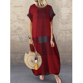 Women Plaid Short Sleeve Crew Neck Side Pocket Baggy Vintage Long Maxi Dress