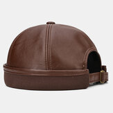 Banggood Design Men Solid Color PU Leather Brimless Beanie Landlord Cap Skull Cap