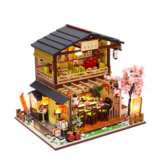 Homeda M2011 Japanese-style Sushi Restaurant DIY Doll House Assembly Cabin Creative Toy With Dust Cover Indoor Toys