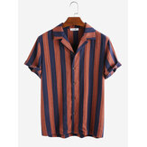 Mens 100% Cotton Vertical Striped Casual Short Sleeve Shirts