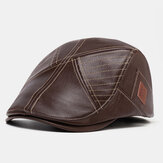 Men Vintage Artificial Leather Hat Keep Warm Ear Protected Casual Beret Hat