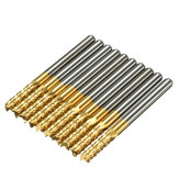 Drillpro DB-M6 10pcs 3.175mm Titanium Coated Carbide End Mill Engraving Bits For CNC Rotary Burrs