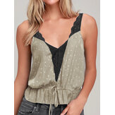 Mulheres V Neck Backless mangas Strap Casual Tank Tops