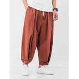 Erkek% 100 Pamuk Düz Renk İpli Cep Günlük Harem Pantolon