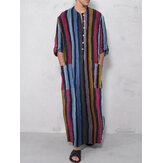 Herren Vintage Loose Kaftan Tops Herren Long Robe Loungewear Casual T-Shirts