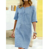 Casual Solid Color Decorative Pockets Half Sleeve Loose Midi Dress