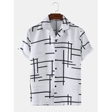 Mens Abstract Unregelmäßige Linien Light Revere Collar Loose Casual Kurzarmhemden