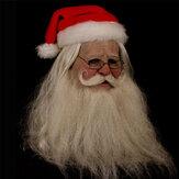Buon Natale Babbo Natale in lattice Maschera Ornamenti all'aperto Simpatico costume da Babbo Natale in maschera Parrucca Barba Dress up Xmas Party