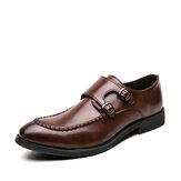 Άνδρες Urban Type Stitching Metal Buckle Comfy Slip On Formal Business Casual Shoes