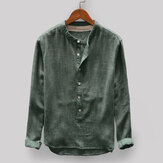 Men's Vintage Loose Comfy Button Fly Stand Collar T-shirts