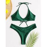 Kadınlar Yeşil Halter Dize Backless Sıcak Tanga Bikini