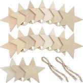 10pcs feuille d'étoile de bois forme d'étoile vierge pendaison balises découpes laser gravure en bois bricolage artisanat