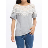 Laço oco para costura blusa de algodão manga morcego para fêmea