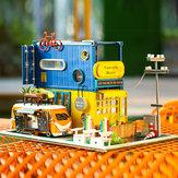 iiecreate Hello Summer DIY Casa de muñecas con cubierta de música Casa de muñecas de madera ligera Regalo Decoración Colección Juguetes