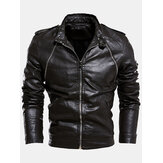 Mens Multi-Zipper Warm Lining Biker PU Leather Jacket