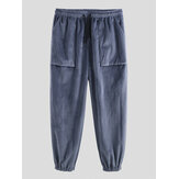 Mens Vintage Drawstring Elastic Waist Solid Color Pants