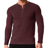 Men's V Neck Long Sleeve Button Tee Casual Slim Fit Comfortable Shirt Camping Hiking Travel