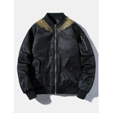 Mens Phoenix Back Embroidered Chinese Style Baseball Collar Jacket