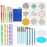 35 PCS Mandala Pontilhando Ferramentas Stencil Ball Stylus Escovas Bandeja de tinta para pintura de rochas Colorir desenho e desenho