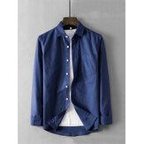 Mens Vintage Practical Pocket Solid Color Shirts