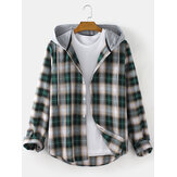 Mens Plaid Curved Hem Long Sleeve Relaxed Fit Drawstring Hooded Shirts