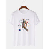 Cartoon Astronaut Print 100% Baumwolle Casual Kurzarm T-Shirts