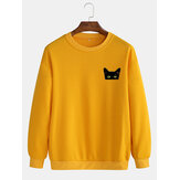 Simple Cartoon Cat Print Round Collo Felpe a maniche lunghe in cotone con pullover