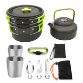 Alumina 2-3 People Camping Cookware Set Boiler Non-stick Frying Pan Teapot Tea Cups Outdoor Picnic Foldable Tableware